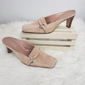 Franco Sarto Blush Pink Suede Mules 6.5